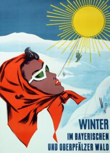 Winterplakat 50er Jahre Bayerischer Wald und Oberpfälzer Wald