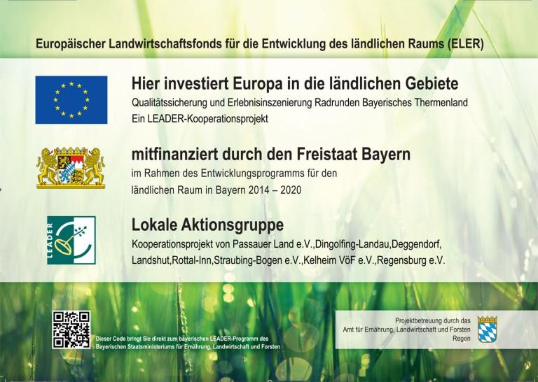 Leader Hinweis Qualitätssicherung und Erlebnisinszenierung Radrunden Bayerisches Thermenland
