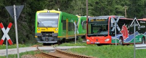 """""""Waldbahn"""", """"Igelbus"""" und weitere ÖPNV-Linien sind im Bayerischen Wald so gut miteinander vertaktet, dass Urlauber auch ohne Auto mobil sind. Mit dem Gästeservice Umwelt-Ticket """"GUTi"""" können sie Busse und Bahnen kostenlos nutzen."""