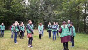 Touristiker treffen sich auf dem Gartenschaugelände in Freyung