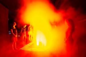 Vulkanausbruch im Erlebnis Vulkan Parkstein